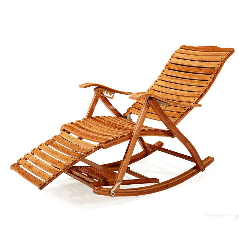 Modern Foldadble Bamboo Rocking Chair Recliner With Ottoman Indoor Outdoor Lounge Deck Chair Bamboo Furnit Rocking Chair Bamboo Furniture Recliner With Ottoman