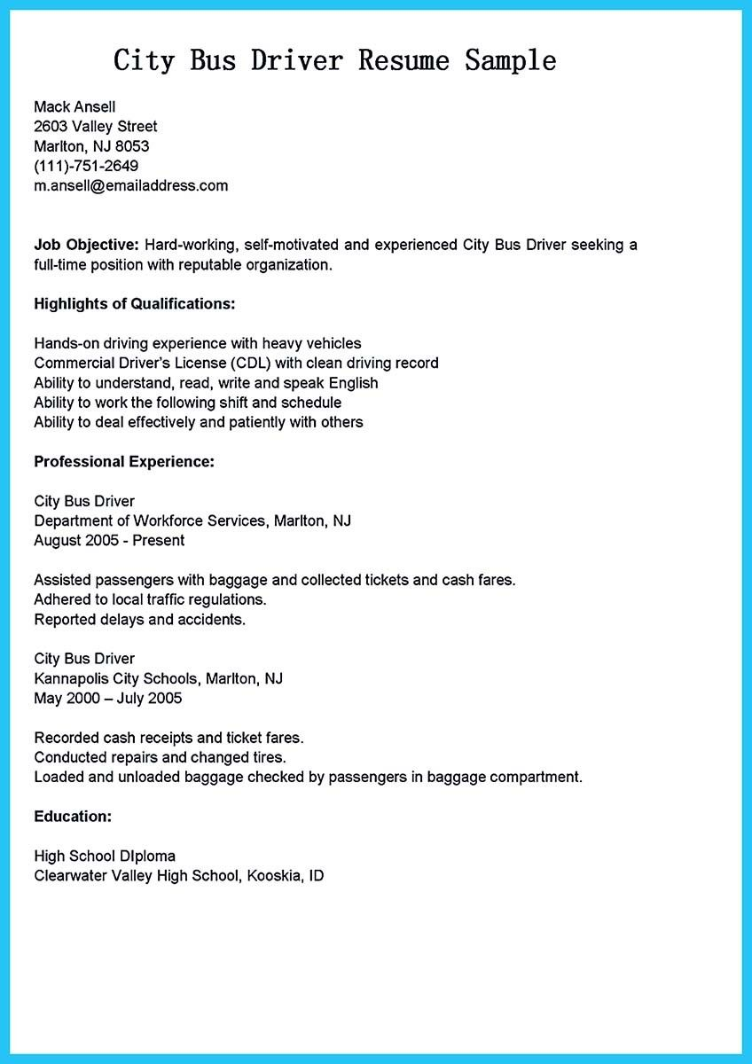 Cool Stunning Bus Driver Resume To Gain The Serious Bus Driver Job Check More At Http Snefci Org Stunning Bus Driver Resum Driver Job Resume Resume Examples