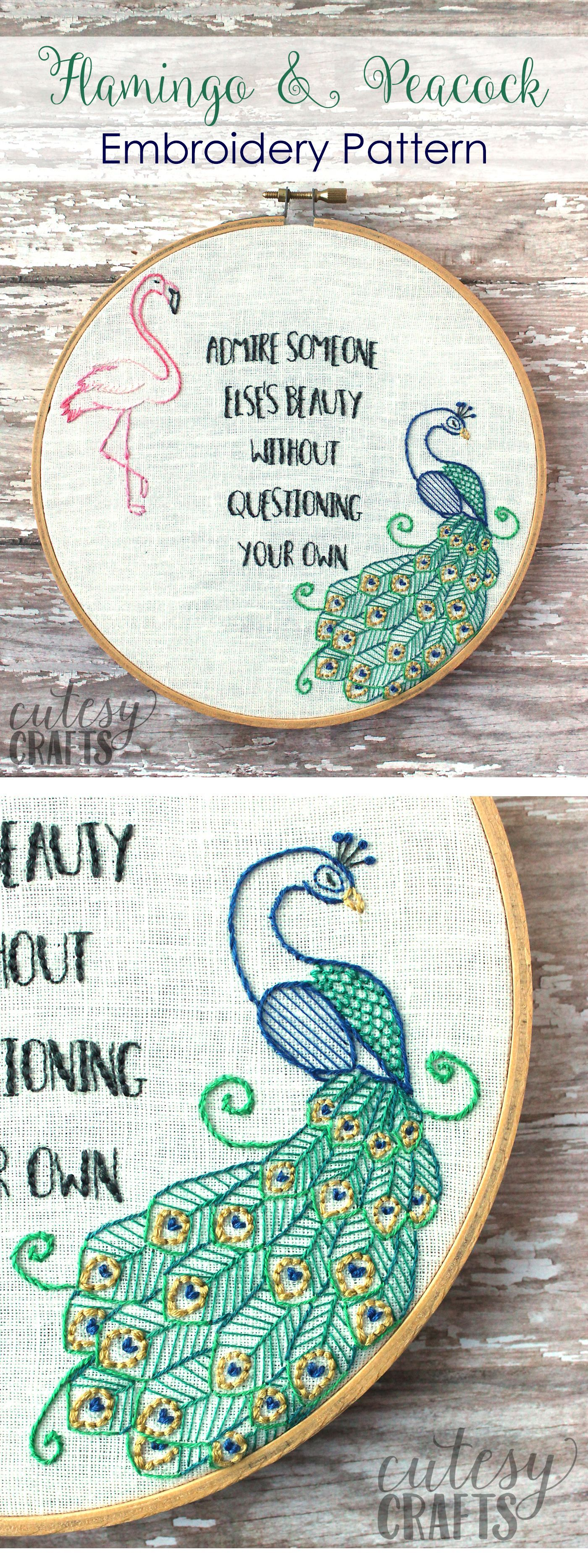 Flamingo and peacock free embroidery pattern quote embroidery