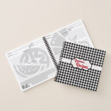 Custom White Black Buffalo Check Plaid Pattern Notebook - pattern - sample notebook paper