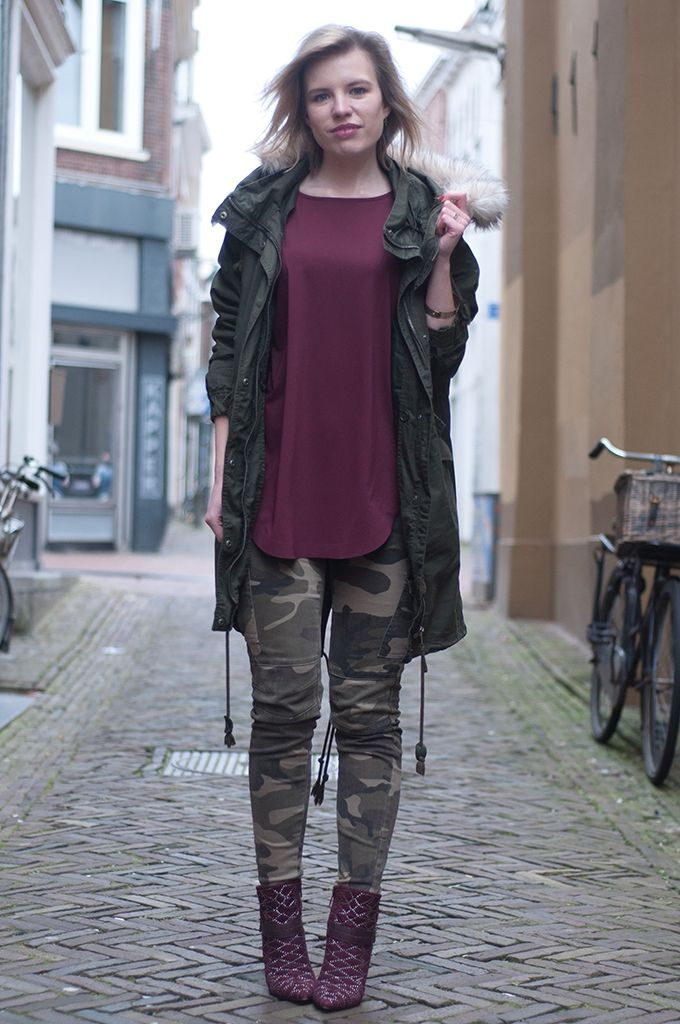 bd9d7642be1 RED REIDING HOOD  Monki fur lined parka coat green camo pants camouflage  jeans army burgundy sam edelman mila ankle boots designer shoes heels  fashion ...