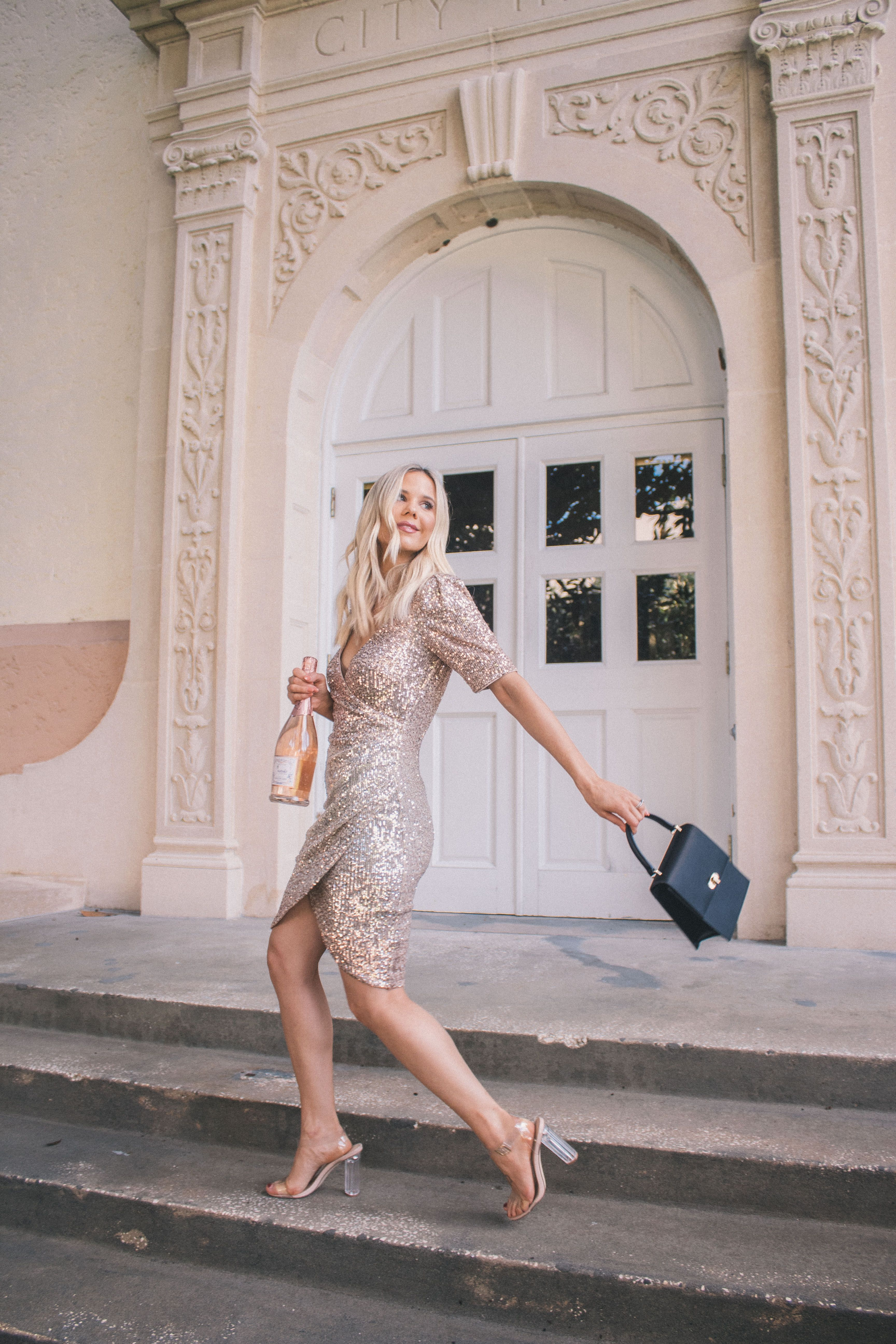The Best Champagne Sequins Dresses For New Years Eve Hannah Mcdonnell In 2020 Champagne Sequin Dress Dresses New Years Eve Dresses