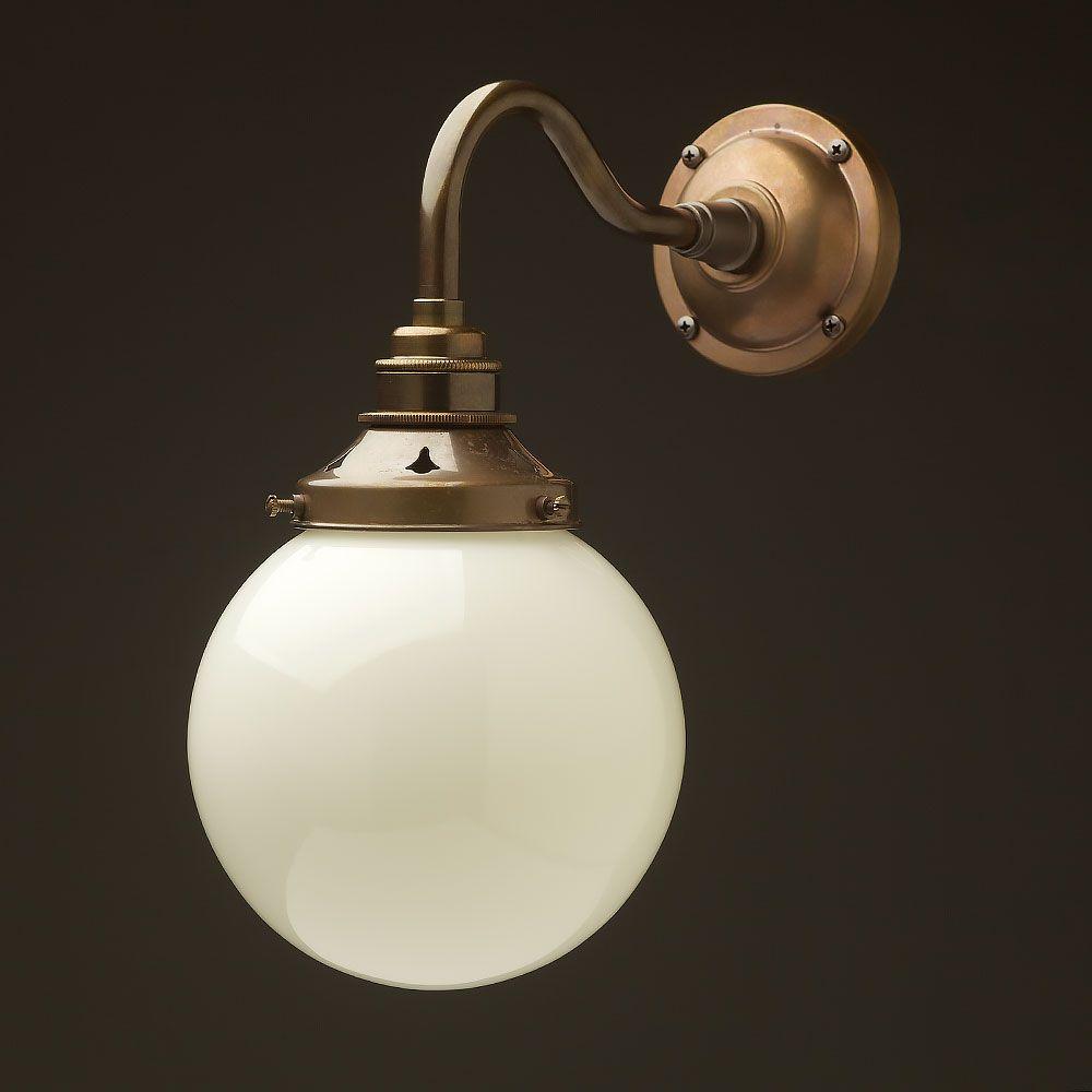 Brass 140mm Opal Glass Shade Wall Light Wall Lights Light Glass Shades