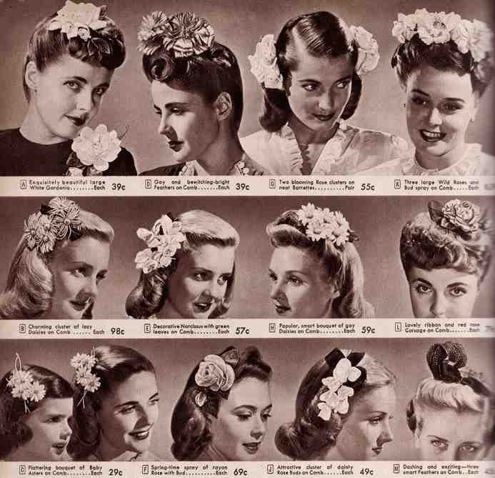 1940s Vintage Hair Accessories 4 Authentic Styles Flowers In Hair 1940s Hairstyles Vintage Hairstyles
