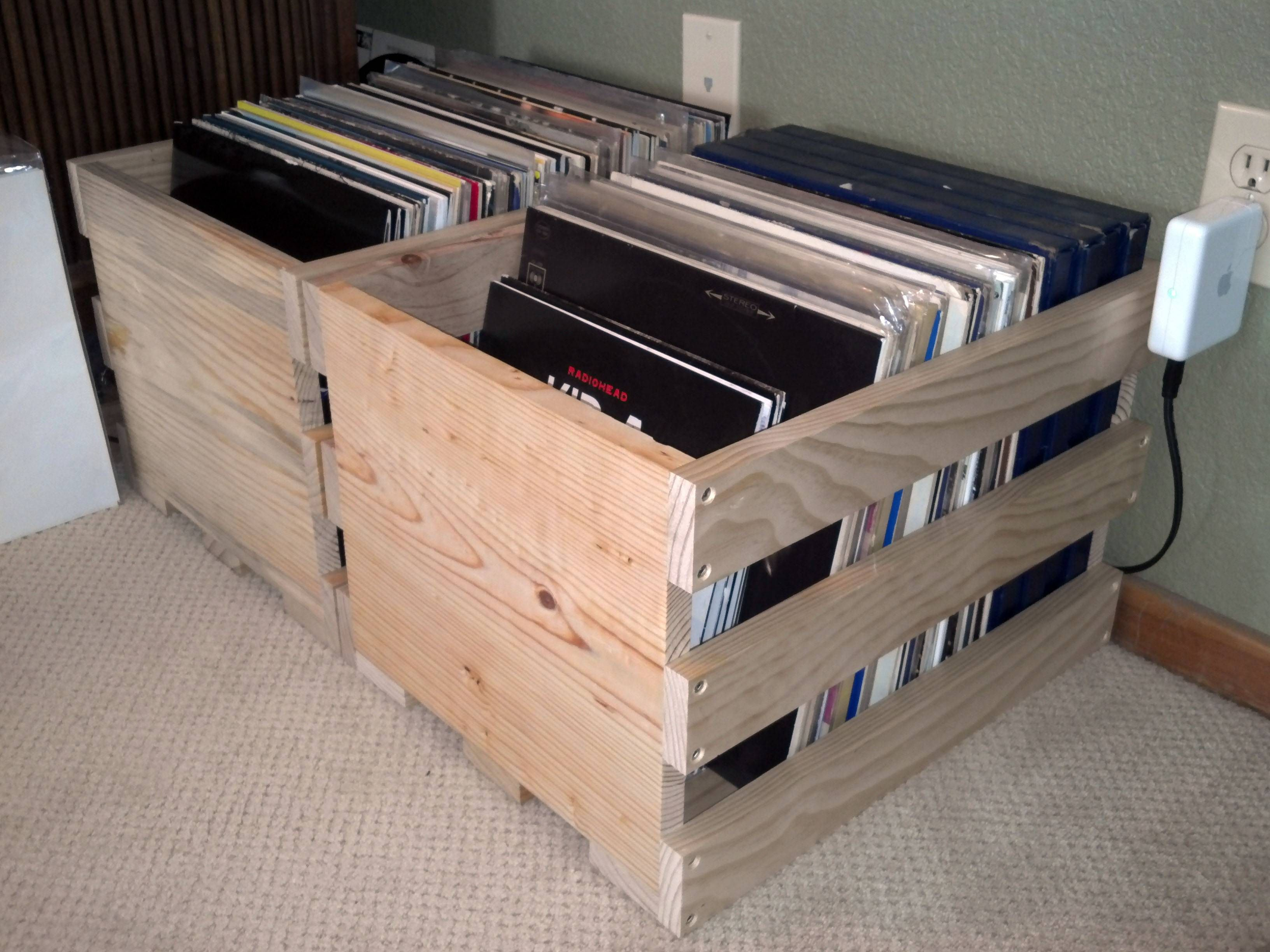 Whipped Up A Couple Of Record Bins From Scrap Wood Vinyl