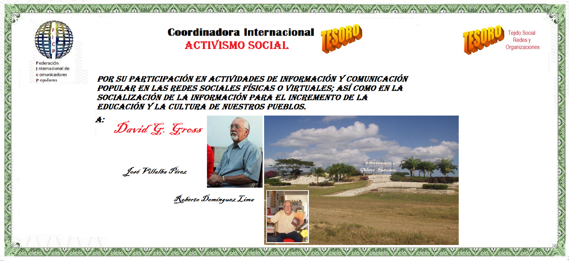 FICP. David G. Gross. ACTIVISMO SOCIAL