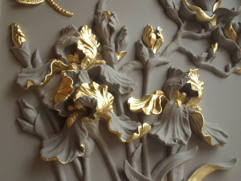 барельефы цветов на стене фото надписью спокойной ночи