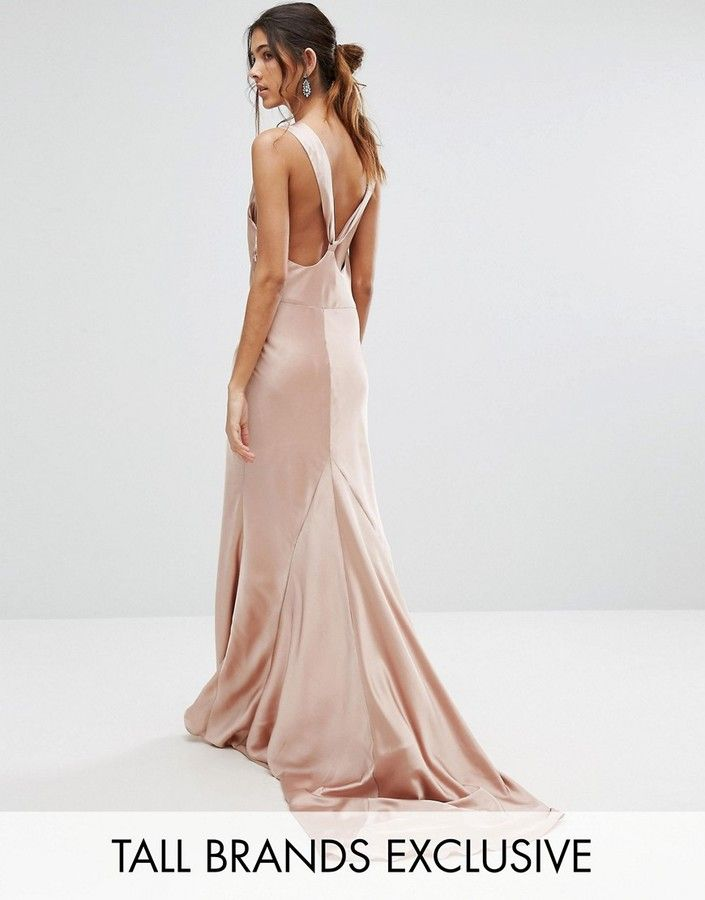70190d4e5a Jarlo Tall Slinky Cowl Front Maxi Dress With Strappy Back Detail ...