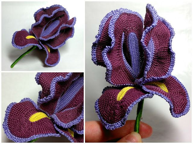Flor Iris de Crochet Tutorial Paso a Paso - Patrones Crochet | Flor ...