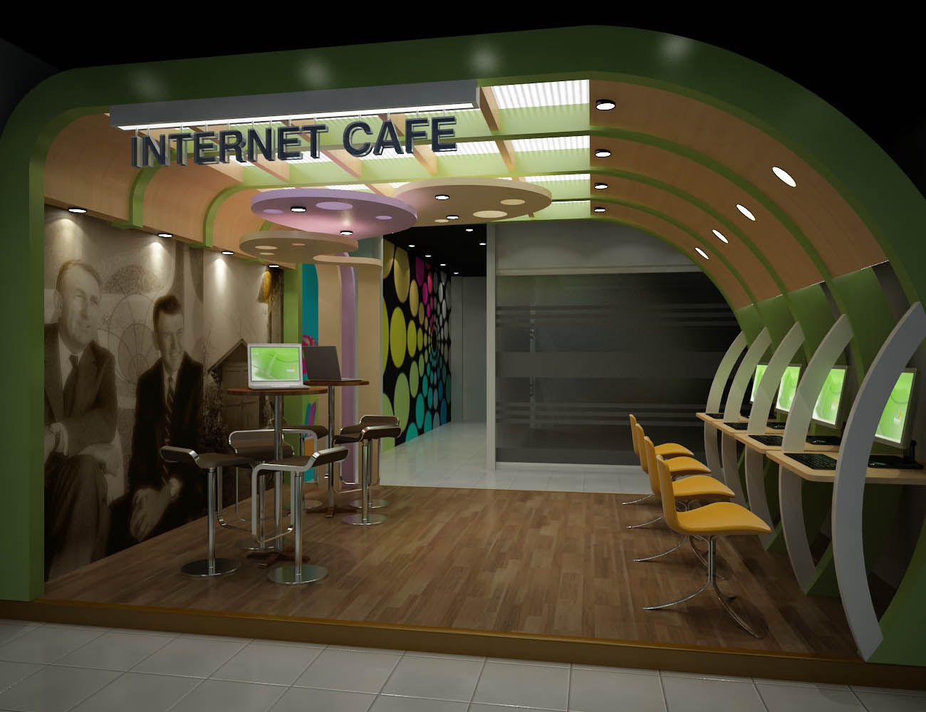 Internet Cafe Portfolio Work Liking The Curved Wall Con