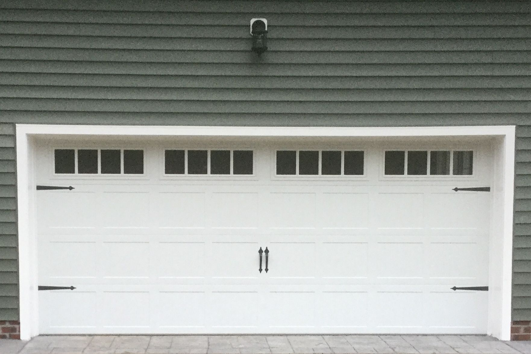 Garage door window inserts - Model 5251 Vertical Stamped Carriage Style Garage Door With Top Glass And Square Madison Inserts And Spade Hardware Installed By The Richmond Store