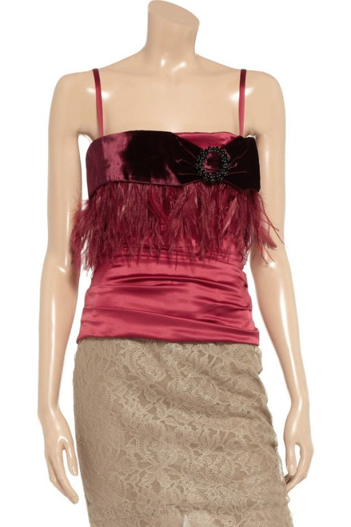 DOLCE & GABBANA RED CORSET TOP WITH FEATHERS | From a collection of rare vintage blouses at https://www.1stdibs.com/fashion/clothing/blouses/