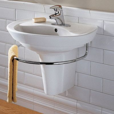 American Standard Ravenna Vitreous China 24 Semi Pedestal Bathroom Sink With Overflow Products Small Bathroom Sinks Wall Mounted Bathroom Sinks Wall Mou