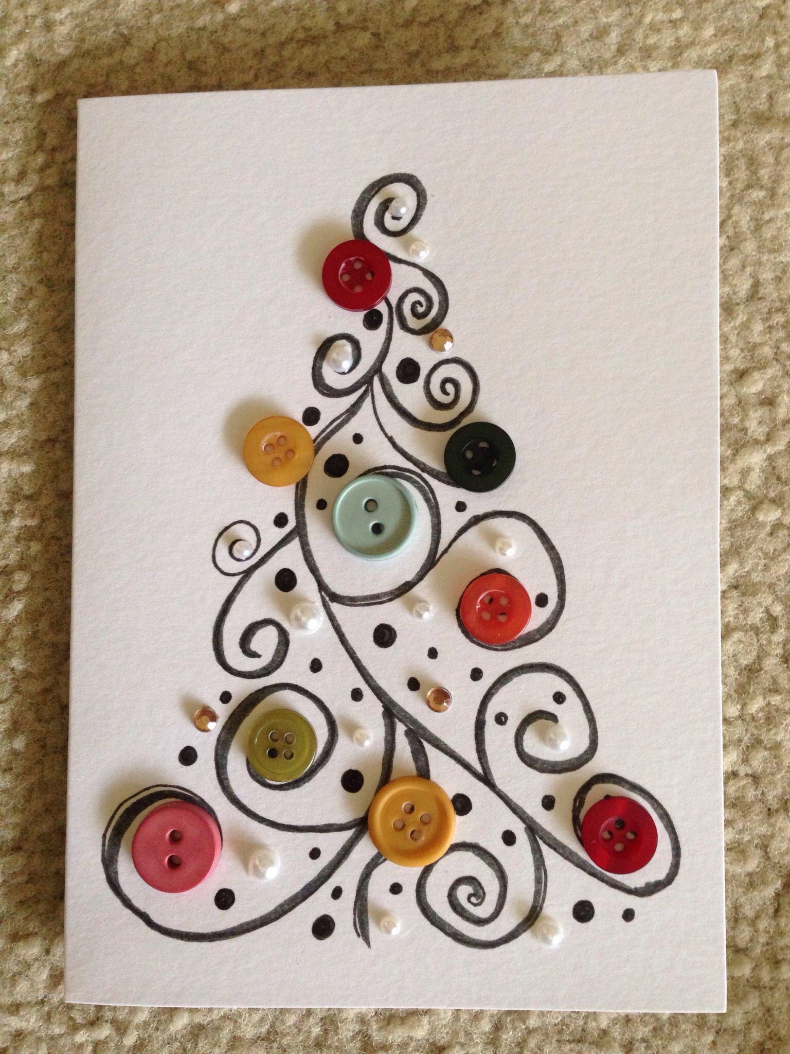 buttons christmas card weihnachtskarte mit kn pfen diy. Black Bedroom Furniture Sets. Home Design Ideas