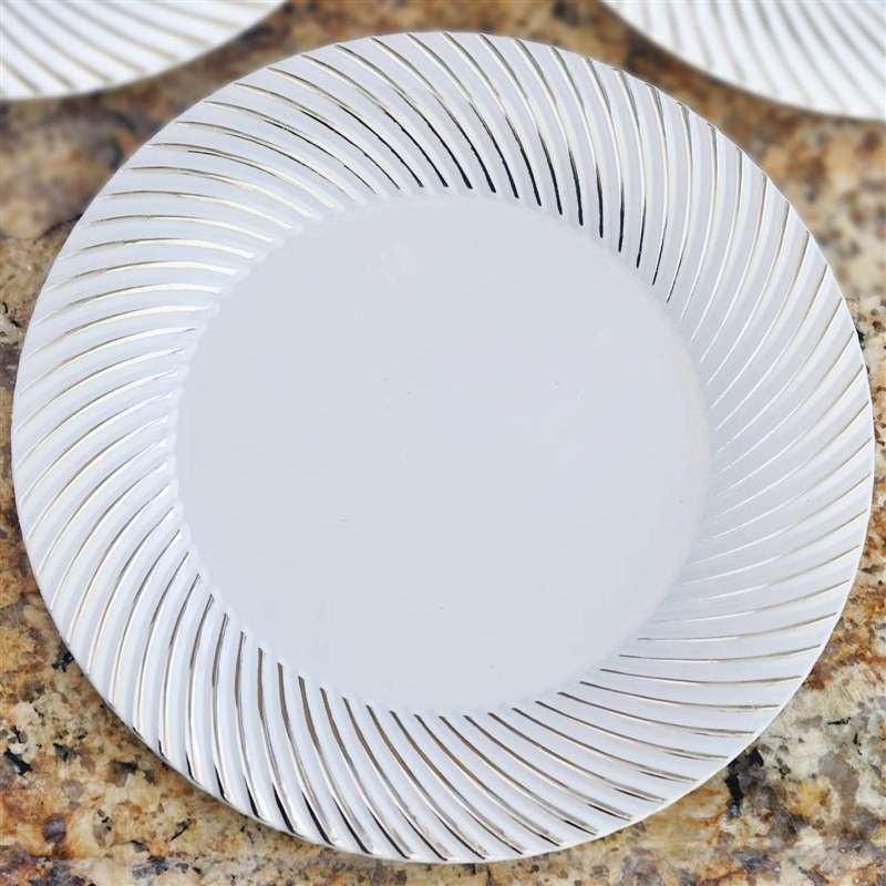 10 Pack 10 White Disposable Round Dinner Plates With Silver Twirl Rim Disposable Plastic Plates Disposable Tableware Plastic Plates