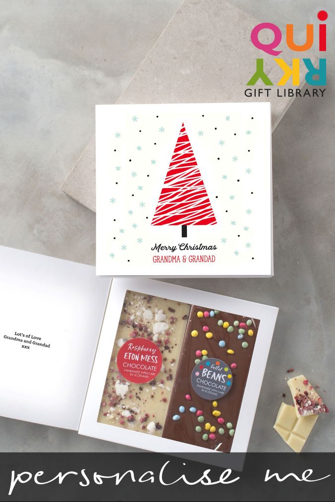 Personalised Christmas Tree Chocolate Card by Quirky Gift Library