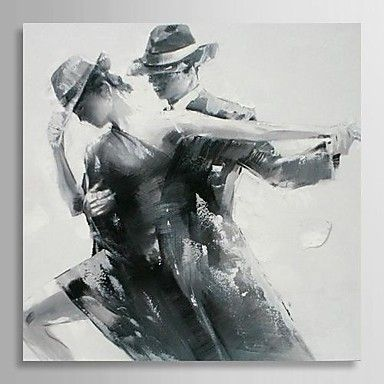 Hand Painted Oil Painting People Black And White Style Dancing With Stretched Frame USD 8293