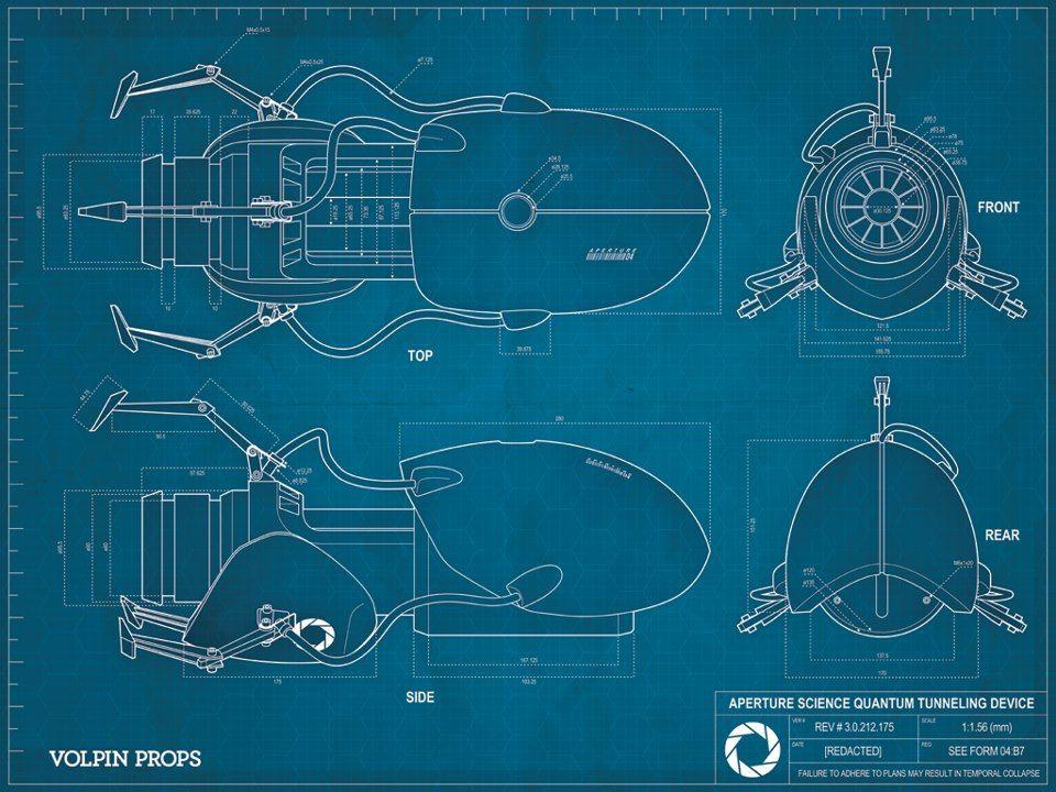 Portal Gun Blueprint Blueprint Pinterest Portal, Guns and Iron - new blueprint gun art