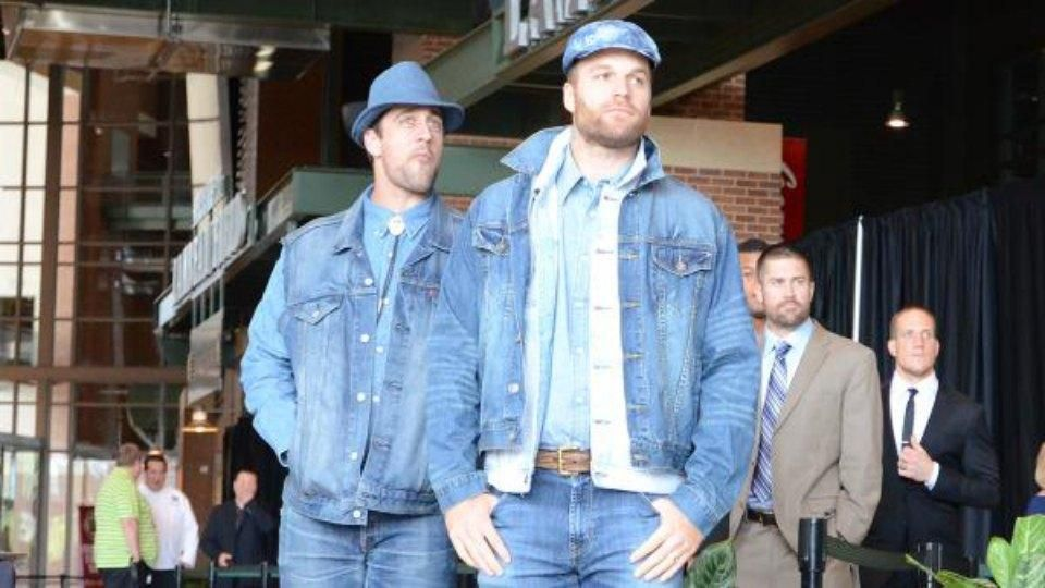 120e8d8e64b54 Aaron Rodgers and Matt Flynn are wearing head to toe denim to the Packers  welcome back luncheon