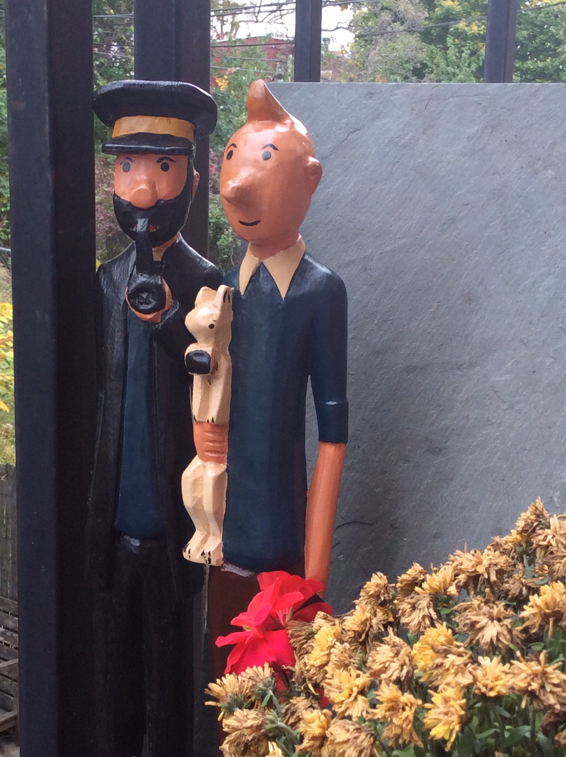 Tintin And The Captain Haddock Carved Wood Figures West African