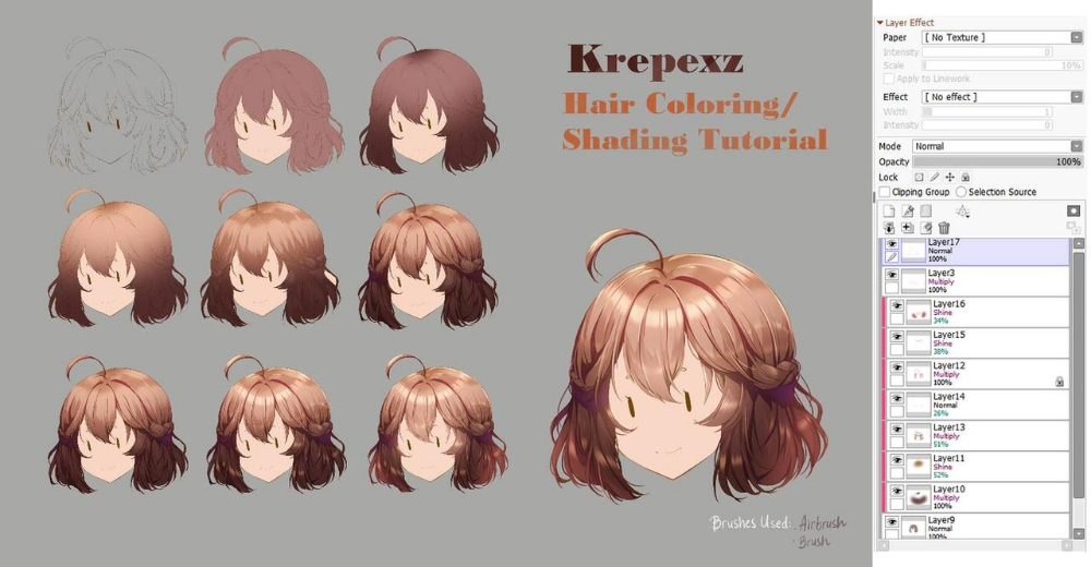 Hair Coloring Shading Tutorial By Krepexz On Deviantart How To Shade Tutorial Digital Art Tutorial