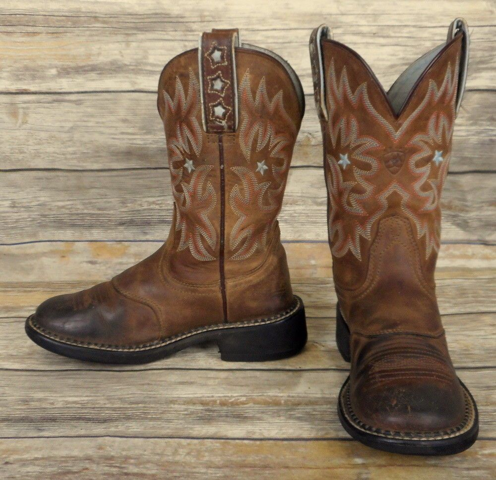 8300326df85 Ariat Cowboy Boots Brown Leather Womens Size 6.5 B Blue Star Cowgirl ...