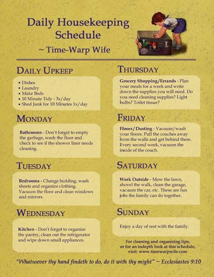 Daily housekeeping schedule to keep your house clean and in order and have you not loose your mind trying to do it all in one day. Printing this out!!!