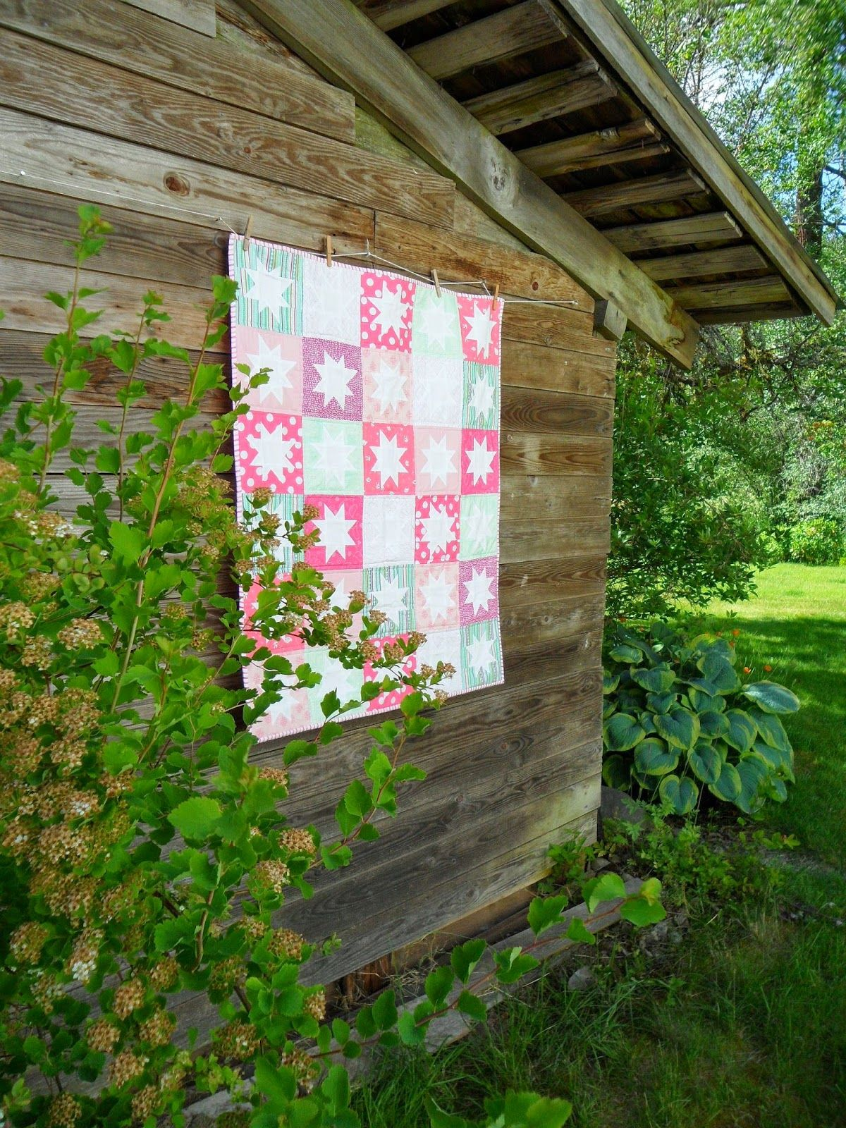 Pinkness and Mint quilt by Blueberry Patch using assorted prints from Warp  Weft