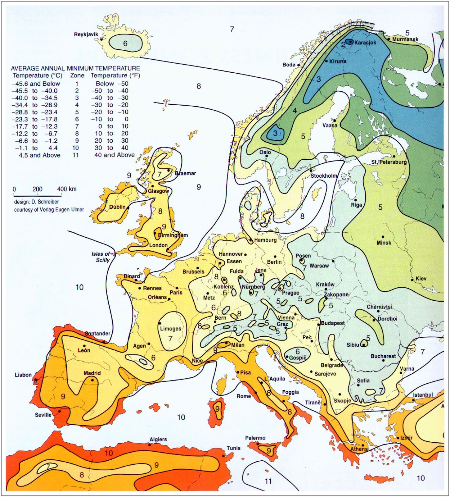 Winter Low Temperature Map Of Europe Plant Hardiness Zone Map