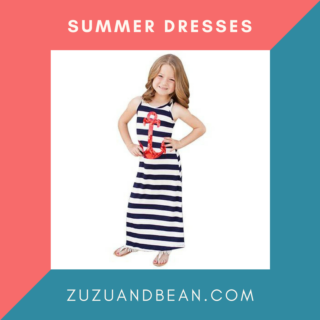 Sequined anchor striped tank long maxi toddler summer dress