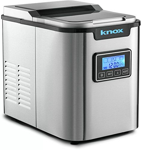 Knox Gear Stainless Steel Compact Countertop Automatic Ice Maker Makes 27 Pounds Daily 3 Different Cube Size Portable Ice Maker Ice Maker Ice Maker Machine