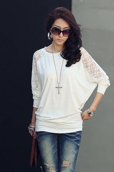 Fashion All-match Boat Neck Hollow-out Long Sleeves Solid White Cotton T-shirt