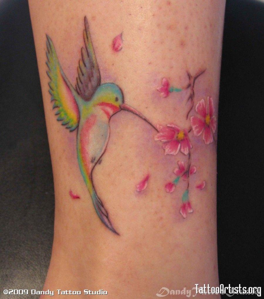 Peacock flower tattoo designs - Colorful Hummingbird And Sakura Tattoo Design