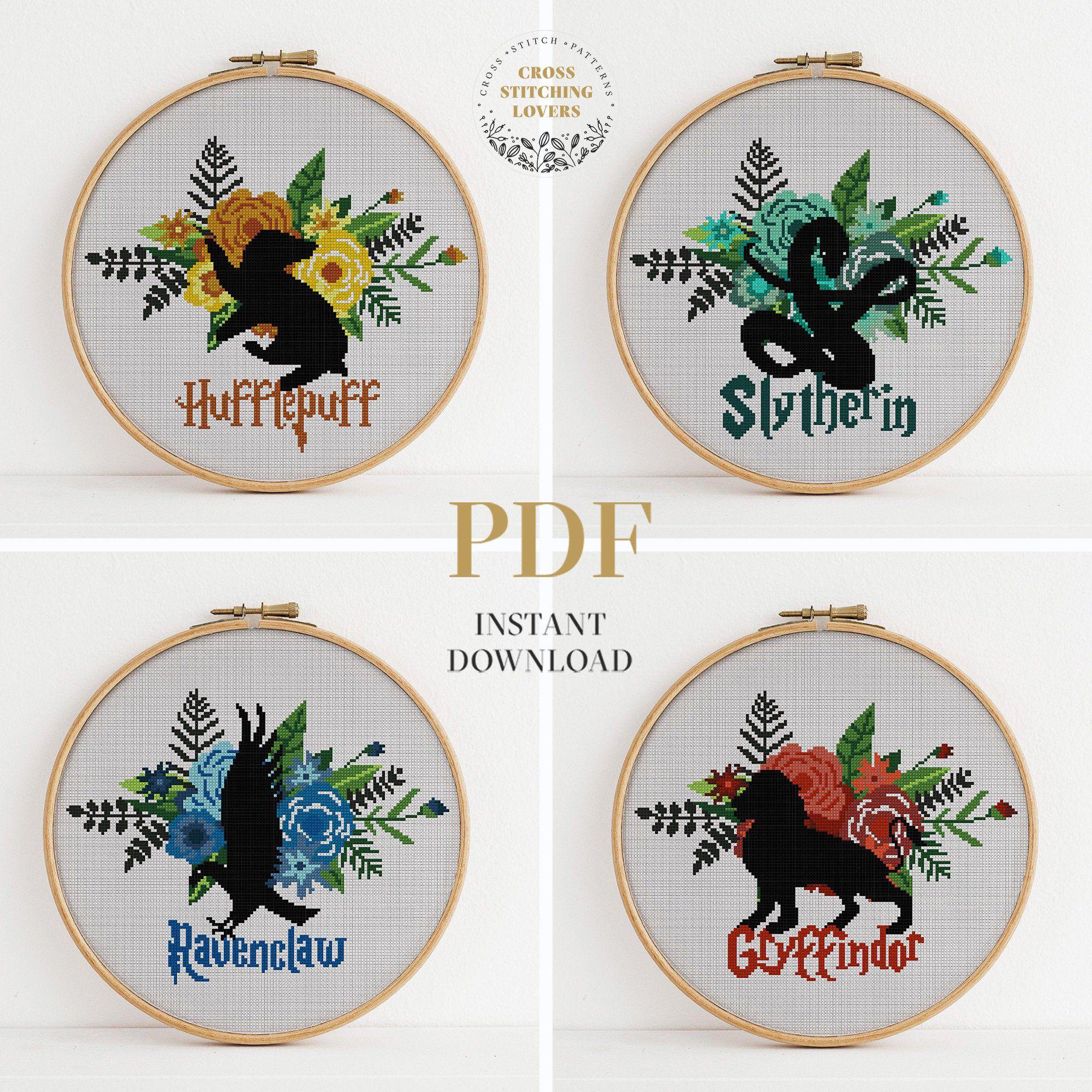 Photo of House crest Cross stitch pattern, HP fan art, PDF Instant Download, cross-stitch bundle, embroidery pattern, personal gift idea