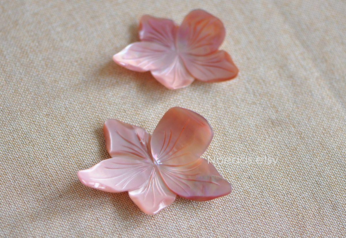 Natural Pink Shell Leaf Pendant 30mm.