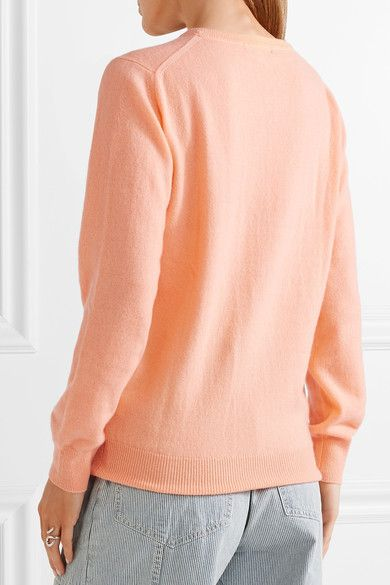 Lingua Franca - Embroidered Cashmere Sweater - Peach | Products ...