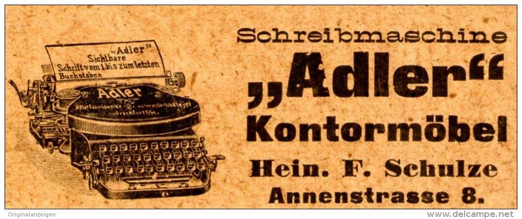 Original-Werbung/ Anzeige 1907 - SCHREIBMASCHINE ADLER / KONTORMÖBEL SCHULZE - DRESDEN - ANNENSTRASSE 8 - ca. 80 x 35 mm