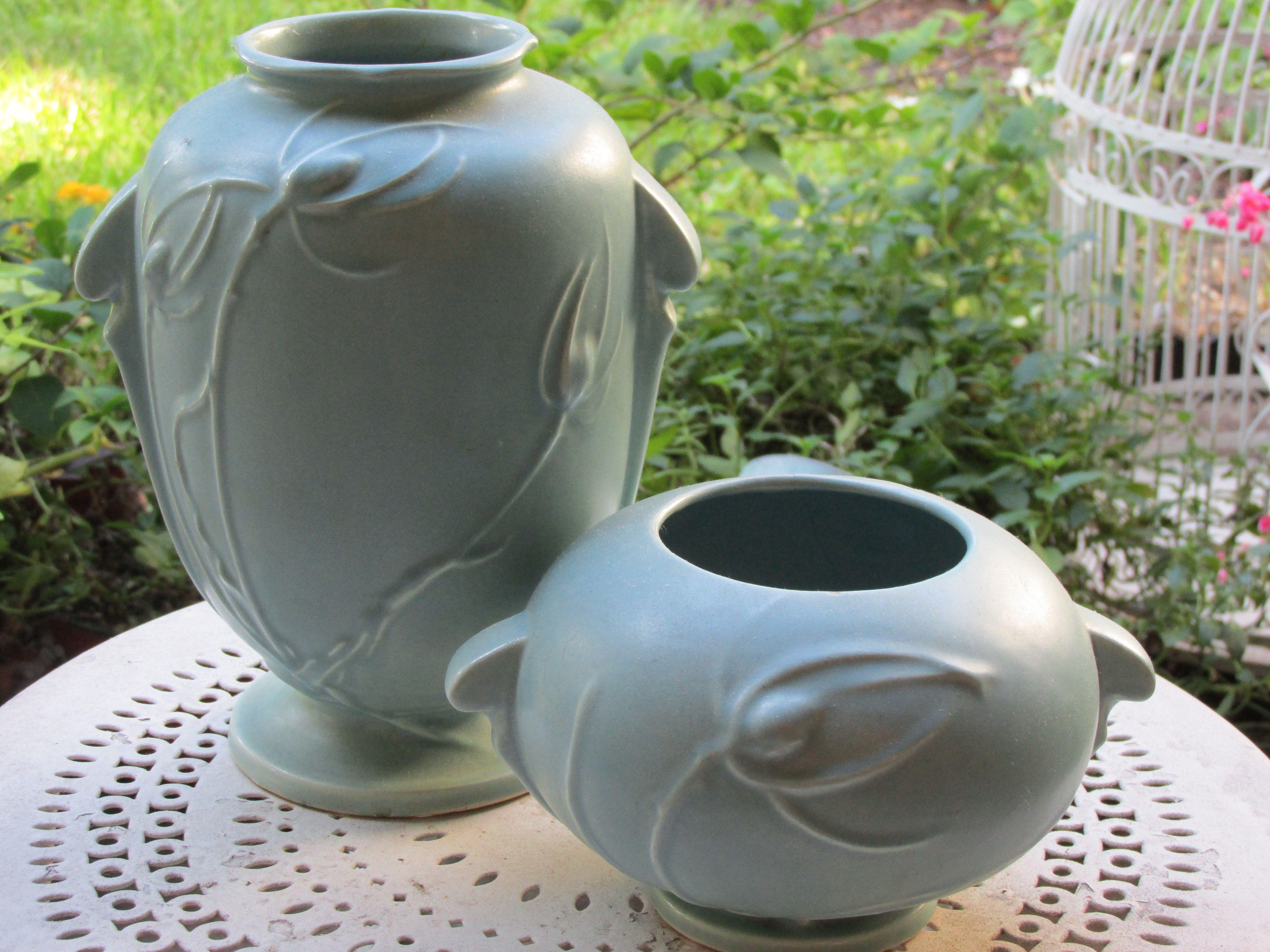 Roseville matte blue pottery.