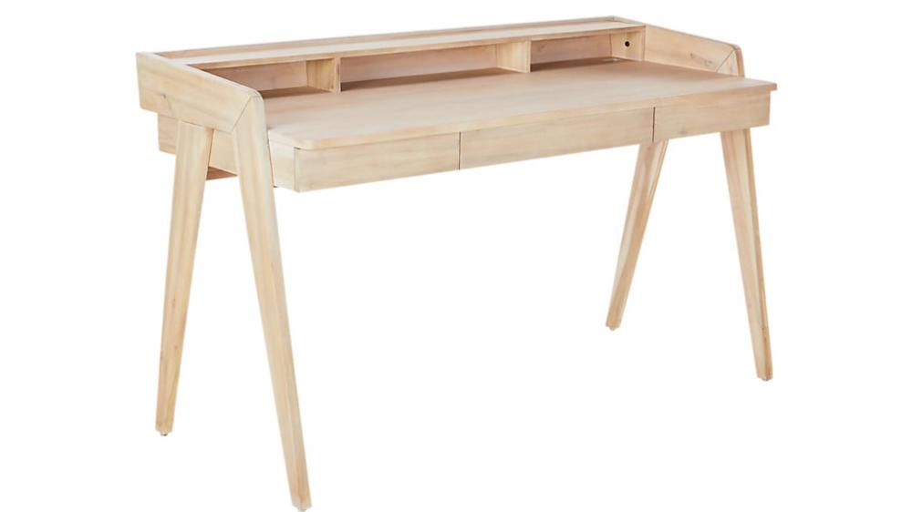 Drommen Whitewashed Desk Reviews In 2020 Wood Desk Design