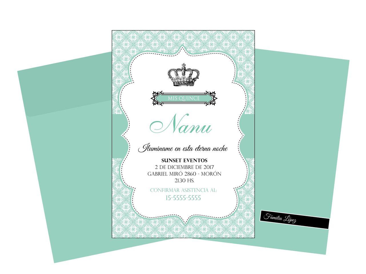 Invitación 15 Años Modelo De Invitación Nanu Tarjeta