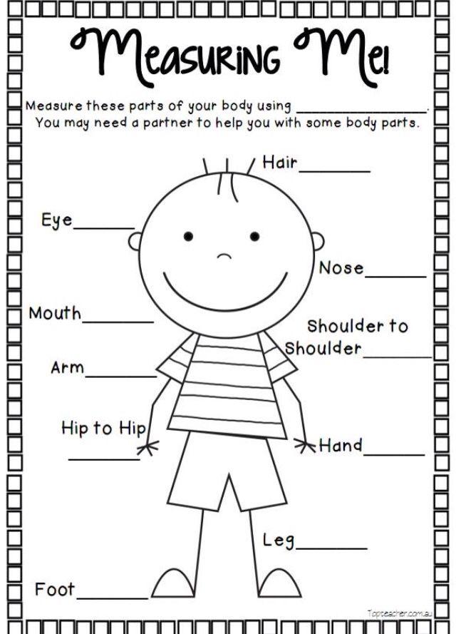 Measuring The Body Measurement Worksheets Measurement Kindergarten Measurement Activities