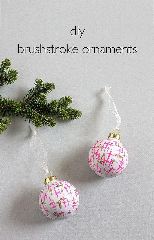 DIY Brushstroke Ornaments. Click through for the full tutorial!   www.vitaminihandmade.com