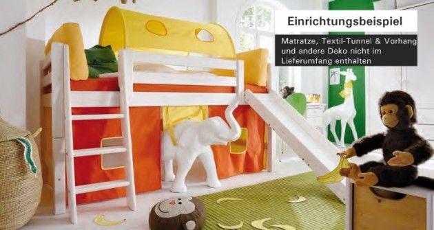 hochbett bett kinderbett mit rutsche kinderzimmer jugendzimmer kiefer massiv hochbetten f r. Black Bedroom Furniture Sets. Home Design Ideas