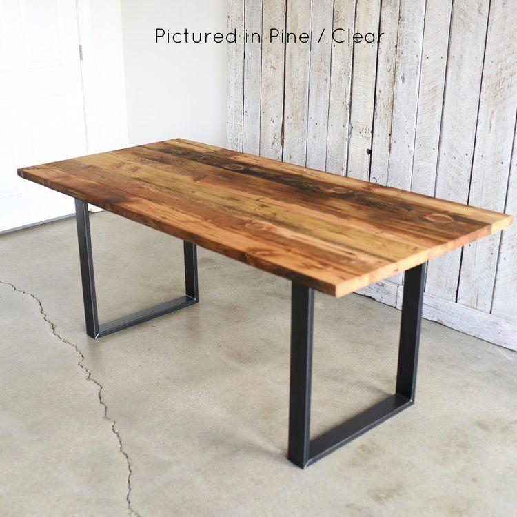 Industrial Modern Dining Table U Shaped Metal Legs Pine Dining