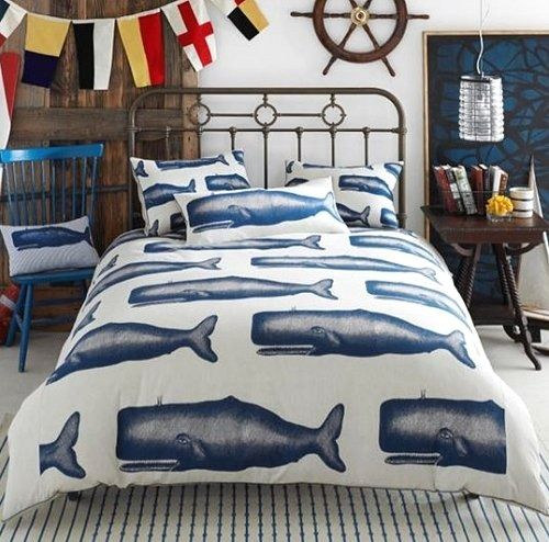 Vintage Marine Whale Bedding Cottage decorations