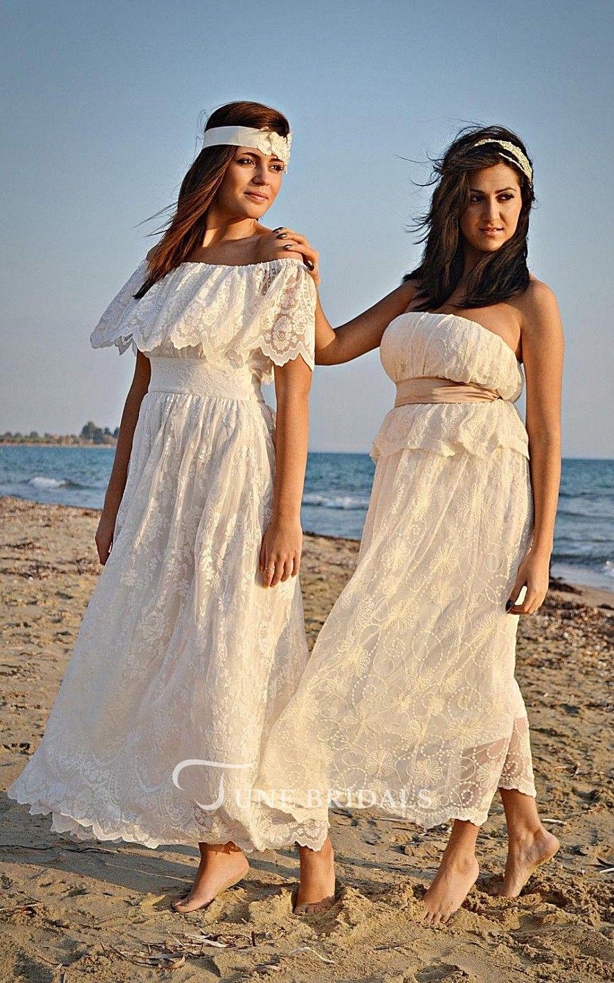Boho offtheshoulder empire ancklelength lace wedding dress with