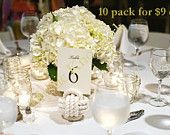 Nautical Wedding Table Number Holders for your Seaside Wedding Ten Pack of White Monkey Fist Rope  Knots
