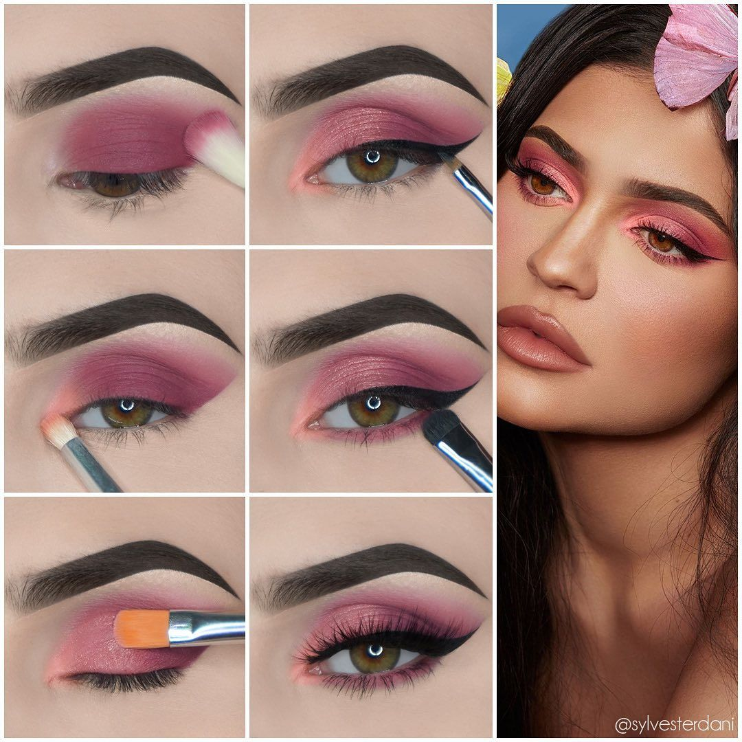 """Daniela Silvestre on Instagram: """"Comment 💗 if you would wear this look!  Recreation of the eye look done by @makeupbyariel on @kyliejenner 🌸Brows: Ka-Brow Cream Gel (6) &…"""""""