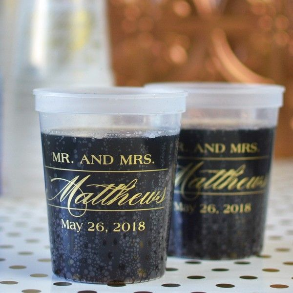 16 Ounce Natural Clear Color Plastic Stadium Cups Personalized With Mr Mrs Monogram Design And Wedding Date In Gold Imprint