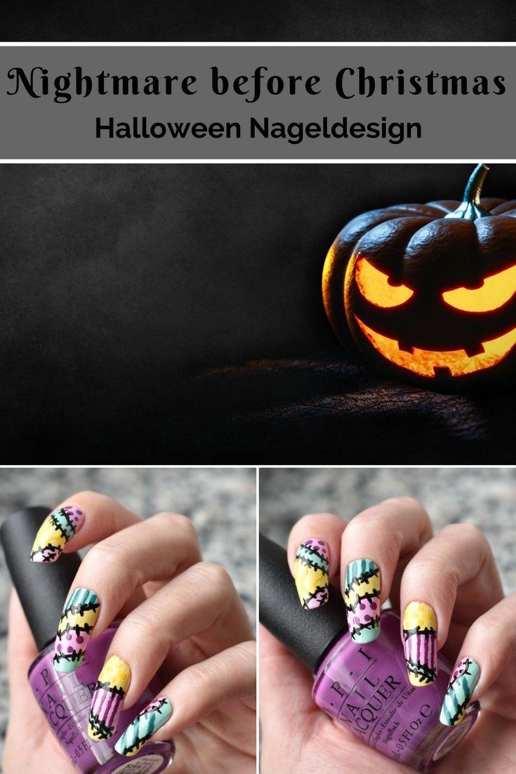 Bloggers\' Halloween - Nightmare before Christmas Nageldesign | Makeup